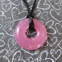 Pink Necklace, Fused Glass Jewelry, Circle - Passionate - 4357-1