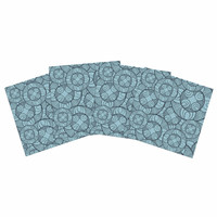 """Maike Thoma """"Layered Circles Design"""" Blue Floral Indoor/Outdoor Place Mat (Set of 4)"""