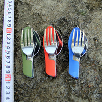 Outdoor camping tableware portable EDC tools Stainless Steel 3 in1 Multi-Function Folding Spoon Fork knife Travel sets Gears