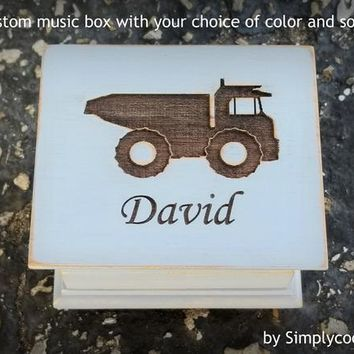 Blue Truck - Custom Music Box - Dump Truck Birthday - Engraved Music Box - Baptism Gift for Boy - Personalized Boy Gift