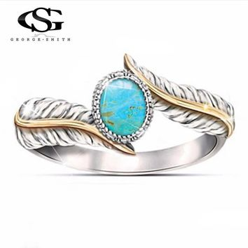 GS Blue Gem Stone Peacock Feather Rings For Women Stainless Steel Angel Wings Wedding Ring Ladies Party Jewelry Anillos Mujer G5