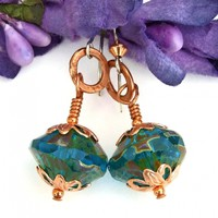 Aqua Teal Blue and Copper Handmade Earrings, Caribbean Czech Rivoli Saucer Artisan Jewelry