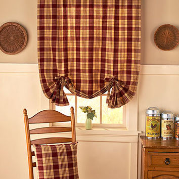 Country Check Checkered Plaid Curtain Valance & Pillows Gingham