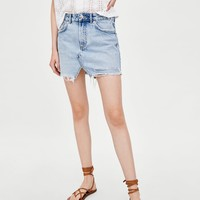AUTHENTIC DENIM RIPPED MINI SKIRT DETAILS