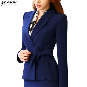 New business women clothes OL winter elegant bow long sleee blazer formal uniforms office ladies plus size work wear jacket