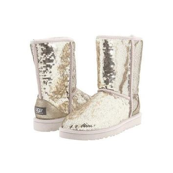 Ugg Boots Black Friday Sale Classic Short Sparkles 3161 Silver For Women 114 45