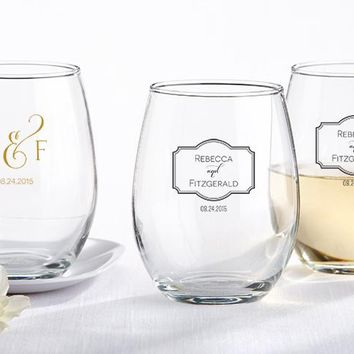 Personalized 9 oz. Stemless Wine Glass - Classic