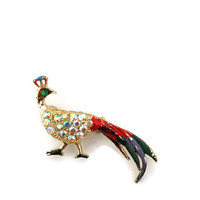 Vintage Peacock brooch, set in goldtone