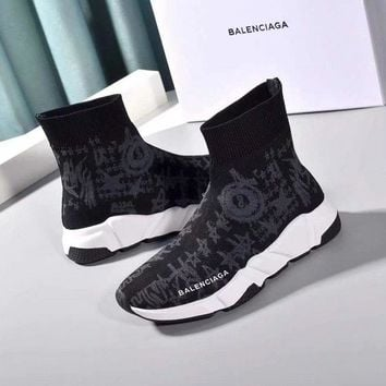 VERSACE  Trending Men Women Black Leather Side Zip Lace-up Ankle Boots Shoes High Boots
