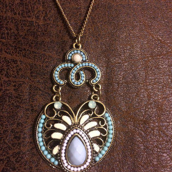 Bronze and Turquoise Necklace