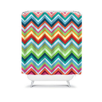 Bold Colorful Rainbow Chevron Geometric Pattern Bathroom Bath Shower Curtain Polyester Made in the USA