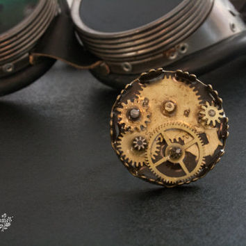 Steampunk ring. Adjustable ring. Watch parts jewelry. Gear jewelry
