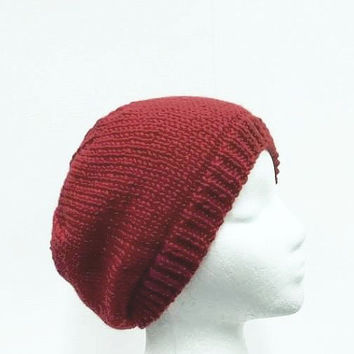 Red knitted beanie hat handmade - free shipping  5281