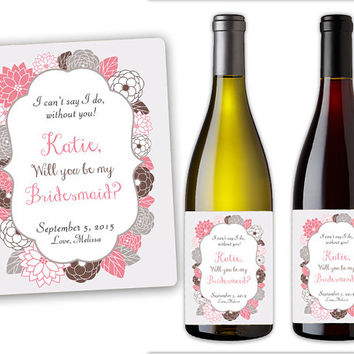Custom Peonies Will You Be My Bridesmaid Wine Bottle Label Set - Personalized Wine Bottle Labels - Maid of Honor Gift - Bridesmaids Gift