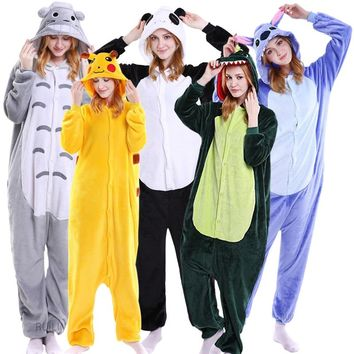 Unisex Winter Unicorn Pajama Sets Lovely Flannel Cartoon Sleepwear For Men Women Pajama Animal Stitch Panda Cosplay Costumes