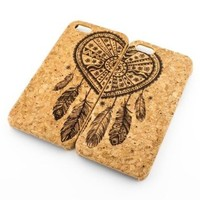 CORK CASE Snap On Cover skin for APPLE IPHONE 5C - (MATCHING CASE) BEST FRIENDS FOREVER HEART DREAMCATCHER bff tribal dream catcher native