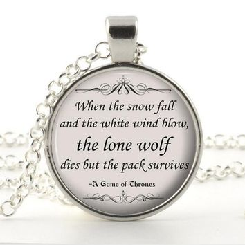 Silver Quote Necklace Pendants - Game of Thrones - Lone Wolf
