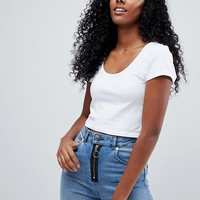 ASOS Crop Top With Short Sleeve And Scoop Neck at asos.com
