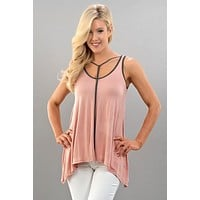 Double Scoop Flowy Tank Top - Rose and Grey