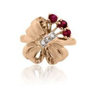 14k Rose Gold Diamond Ruby Vintage Cocktail Ring - Boca Raton