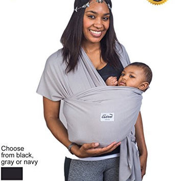 Grey Baby Wrap Carrier Sling by Cozitot®   Soft and Stretchy Baby Carrier   Baby Sling Carrier   Small to Plus Size Baby Sling   Nursing Cover   Best Baby Shower Gift