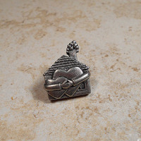 Loving Home Vintage Pewter Lapel Tack Pin Brooch House Arms Hearts Signed Clift