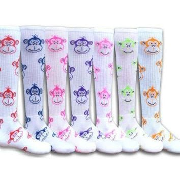 MONKEY FACES Patterned Acrylic Athletic Socks