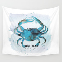 blue crab Wall Tapestry by Sylvia Cook Photography