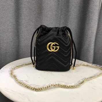 HCXX 1960 Gucci Marmont Fashion Mouth draw string Pen Container Bag Black