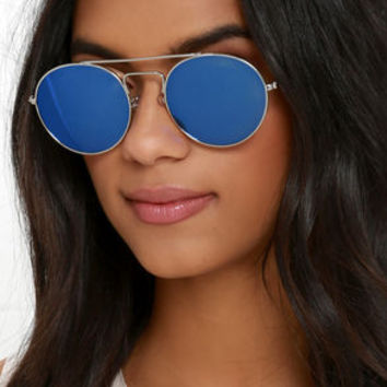 One for the Books Silver and Blue Sunglasses