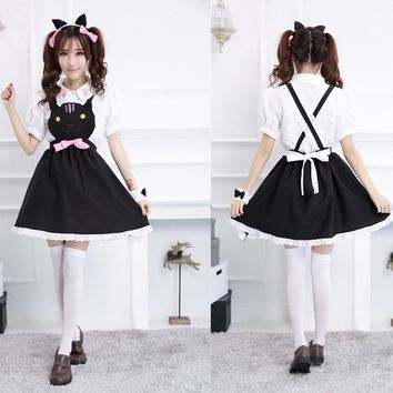 2016 Adult Sexy Women Cosplay Maid Costume Halloween Hello Kitty Costume KT Princess Dress Party Dresses With Bow High Quality