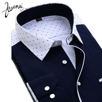 BKM54 2015 Spring New Casual Men'S Shirt Printing Camisas De Marca Vintage Theatrical Fashion Spell Color Long Sleeve Shirt Men