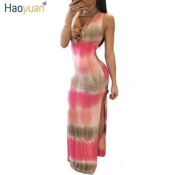 Women Summer Maxi Bandage Dress 2017 Sexy Party Dresses Striped Vestidos Backless Split Tie Dye Bodycon Long Dress Robe Vintage