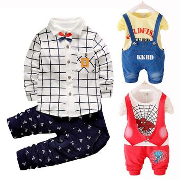 2017 New Autumn Clothing Set Baby Boy Clothes Set Toddler Boys Clothing Kids Clothes Cotton Long Sleeve T-shirt Pants Christmas