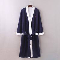 New Spring and Autumn men waffle cotton bathrobes men bathroom spa robe mat braid male plus size pajamas