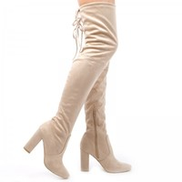 Eva Thigh High Boots In Nude Faux Suede