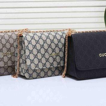 """Gucci"" Fashion Classic GG Letter Logo Single Shoulder Messenger Bag Women Chain Flip Small Square Bag"