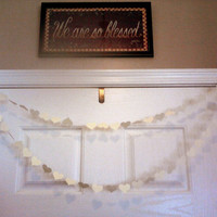 Ivory Paper Heart Garland for Weddings Receptions Birthdays Baby or Bridal Showers Any Occasion 10 Feet Long