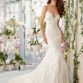 Lace Contoured Net with Appliques and Crystal Beading Morilee Bridal Wedding Dress | Style 5415 | Morilee