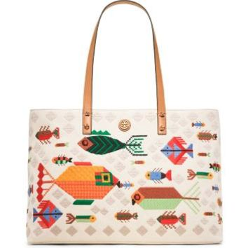 Tory Burch Embroidered Fish Tote