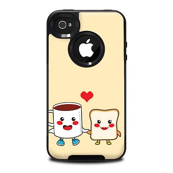 The Cute Toast & Mug Breakfast Couple Skin for the iPhone 4-4s OtterBox Commuter Case