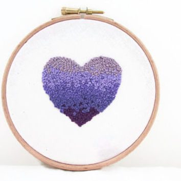 Heart embroidery hoop , 5 inch lavender purple ombre hand embroidery , modern embroidery hoopla , decorative wall hanging uk seller