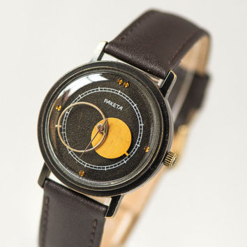 Raketa Copernic wristwatch vintage – black Soviet men's watch - modern men watch gift - mechanical watch him unique face - new leather strap