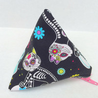 Coin Purse - Day of the Dead Cats,Sugar Skulls Cats,Ear Bud Pouch,Zip Pouch,Stocking Stuffer,Zipper Pouch,Change Purse,Head Phone Pouch