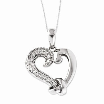Sterling Silver CZ Tied By Love Heart Necklace