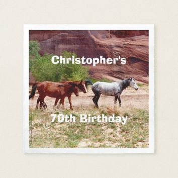 Three Horses Southwest Paper Napkins 70th Birthday