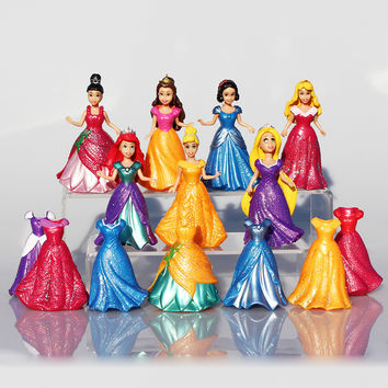 14pcs/set Princess Play Set Snow White Ariel Belle Rapunzel Aurora PVC Action Figures Toys Dolls Dress Clothes Changeable