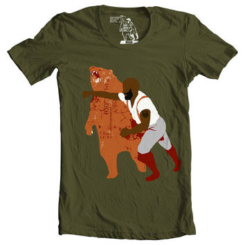 tshirt, tee, Man Punching Bear Men's t-shirt, Black Bear Punch, sizes S-2XL available