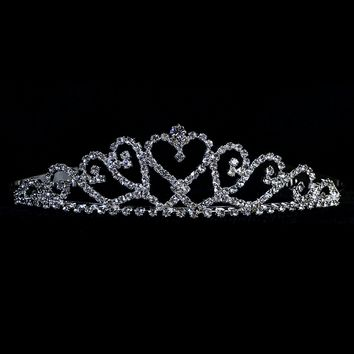 Heart Centered Rhinestone Silver Tiara First Holy Communion (One Size Girls)