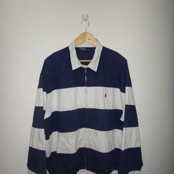 New Year Sale Vintage Polo By Ralph Lauren Stripe Jacket Hip Hop Style Street Wear Rug